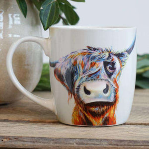A Bad Hair Day Highland Cow Bone China Mug Mugs Wraptious Contempo