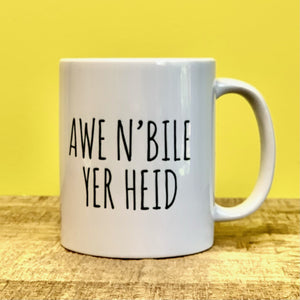 """AWA N' BILE YER HEID"" Scottish Mug Mugs Wot A Mug Contempo"