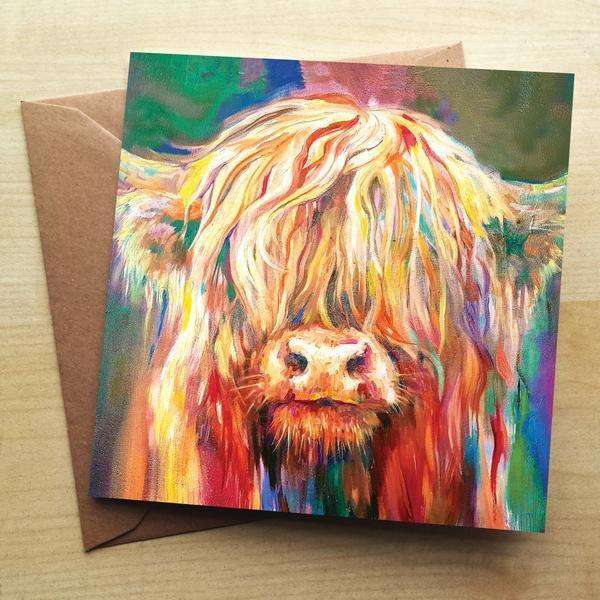 Baby Highland Cow Blank Greetings Card