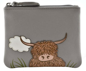 Bella Highland Cow Leather Coin Purse Purses Mala Leather Contempo
