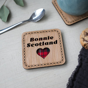 Bonnie Scotland Wood & Tartan Coaster Coasters LT Creations Contempo