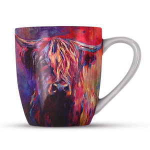 Colourful Highland Cow Bone China Mug Mugs Wraptious Contempo