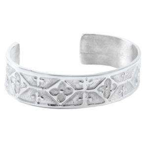 Cross & Flower Celtic Pewter Bangle (S) - Contempo