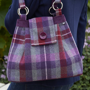 Earth Squared tweed ava bag in purple and red tartan
