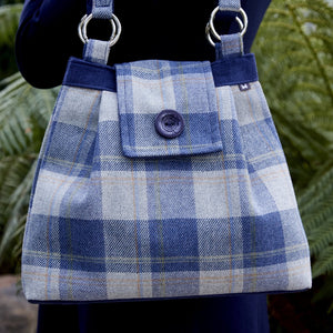 Earth Squared tweed ava blag in blue tartan.