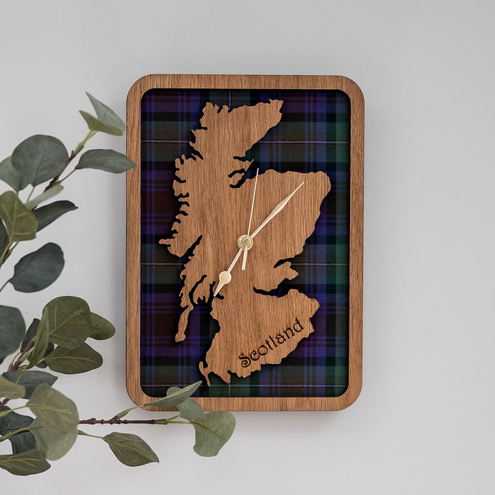 Framed Scotland Map & Tartan Wall Clock