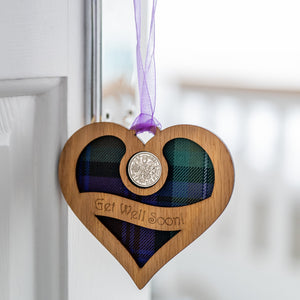 Get Well Soon Tartan Heart Lucky Sixpence Lucky Sixpences LT Creations Contempo
