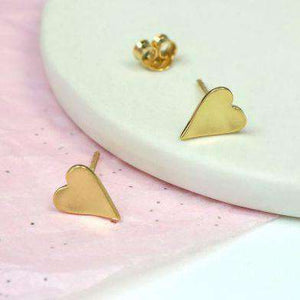Gold Plated Heart Stud Earrings Jewellery Peace of Mind Contempo