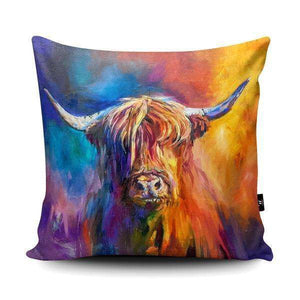 Harris Highland Cow Vegan Suede Cushion Cushions Wraptious Contempo