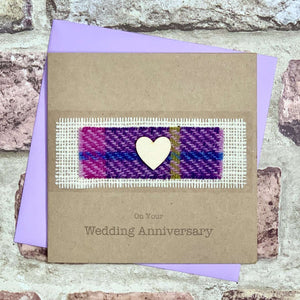 Harris Tweed & Heart Anniversary Card Greetings Cards All That Glitters Contempo