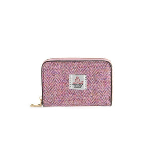 Harris Tweed Ladies Card Wallet (Pink Herringbone) Purses Snowpaw Contempo