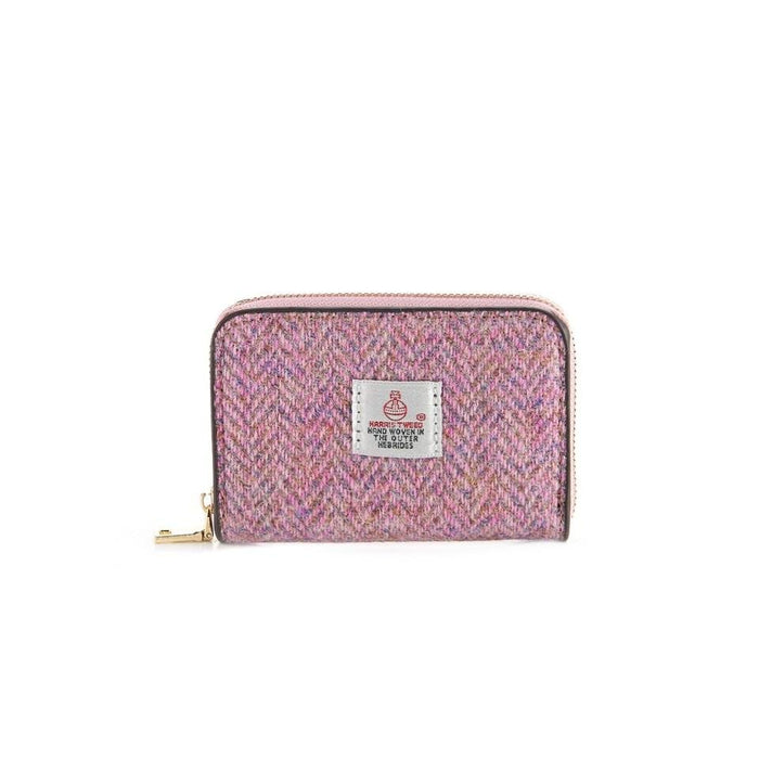Harris Tweed Ladies Card Wallet (Pink Herringbone)
