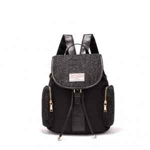Harris Tweed Large Backpack (Black Herringbone) Backpacks Snowpaw Contempo