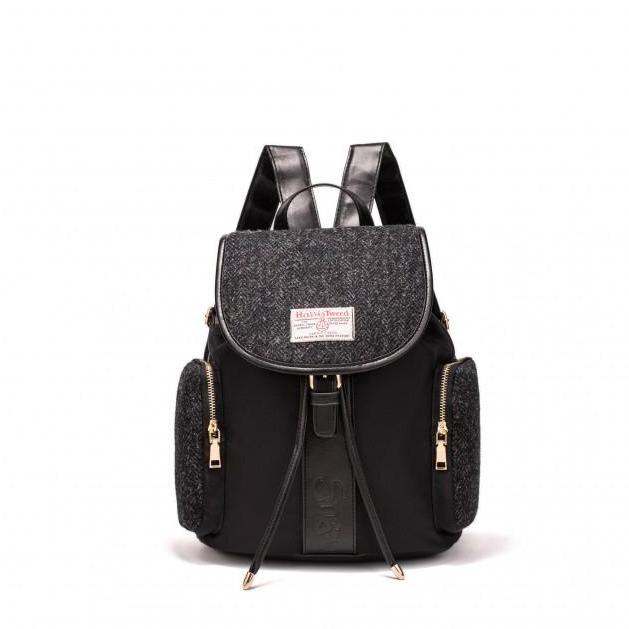 Harris Tweed Large Backpack (Black Herringbone)