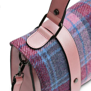 Harris Tweed Satchel / Handbag (Pink & Blue Tartan) Shoulder Bags Snowpaw Contempo