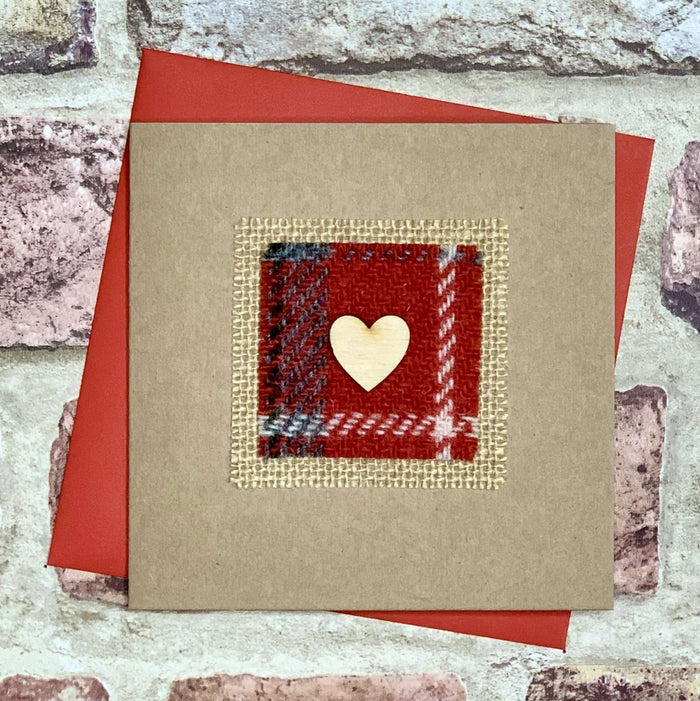 Harris Tweed & Small Wooden Heart Blank Card