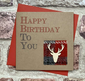 Harris Tweed & Stag Birthday Card Greetings Cards All That Glitters Contempo