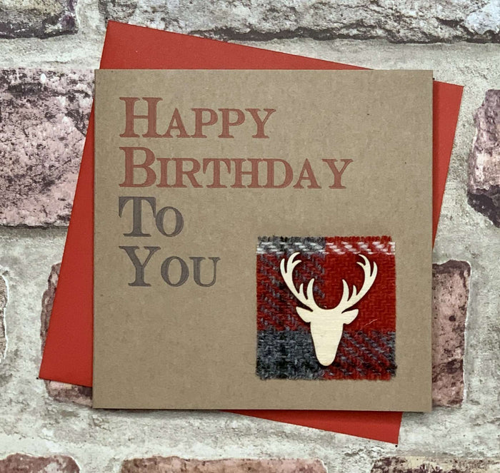 Harris Tweed & Stag Birthday Card