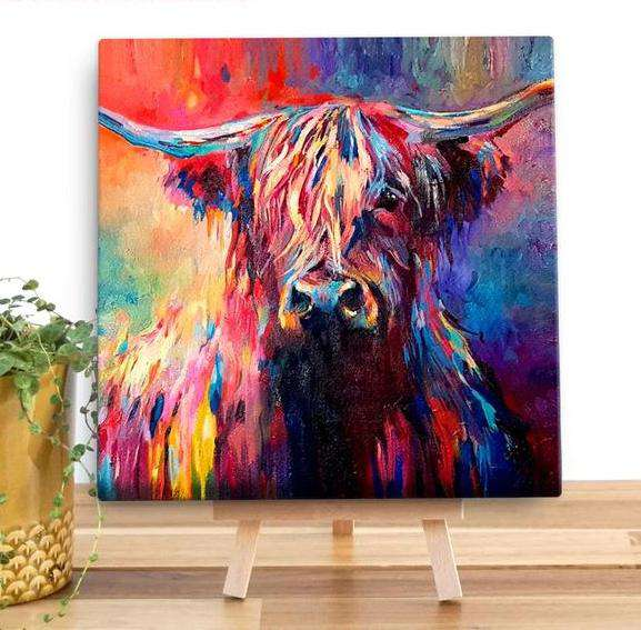 Highland Cow Mini Wall Canvas
