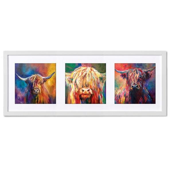 Highland Cow Trio Triptych Framed Prints