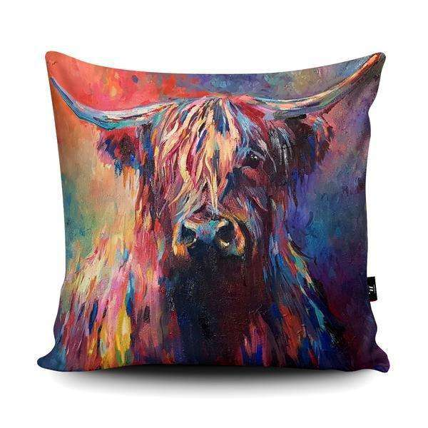 Highland Cow Vegan Suede Cushion