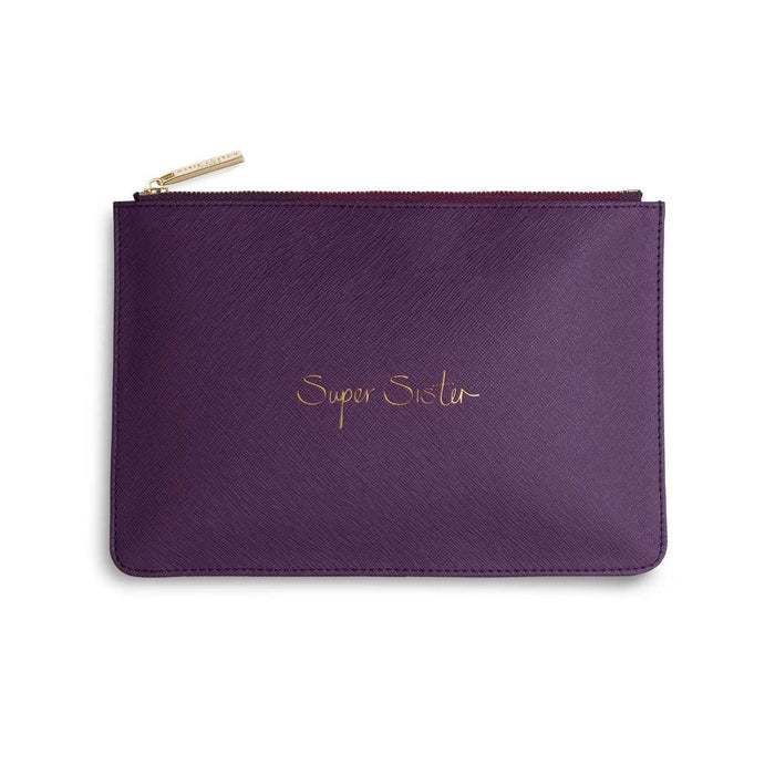 "Katie Loxton Perfect Pouch ""Super Sister"" in Purple Berry"
