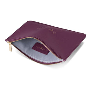 "Katie Loxton Perfect Pouch ""Super Sister"" in Purple Berry Clutch Bags Katie Loxton Contempo"