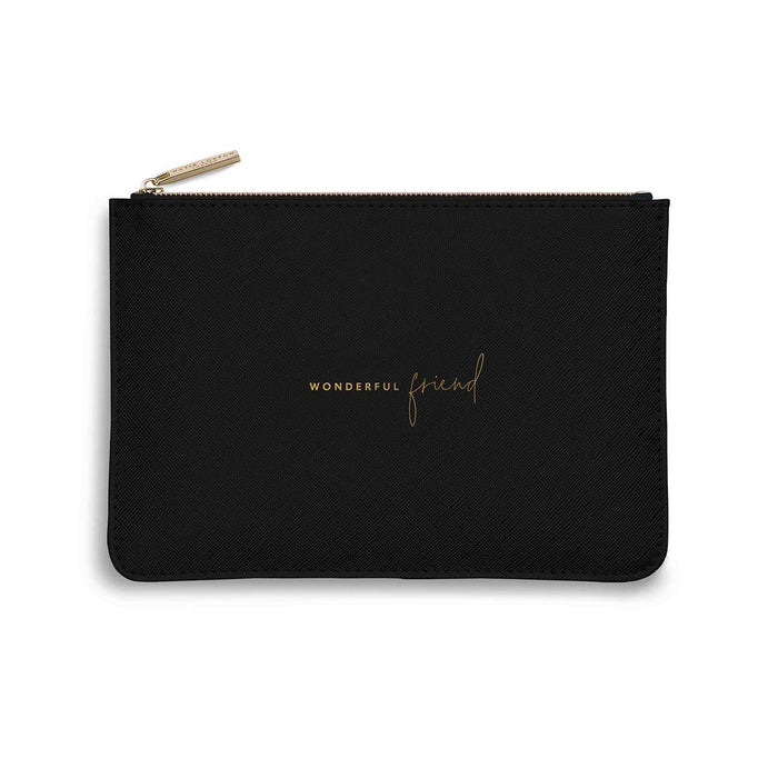 "Katie Loxton Perfect Pouch ""Wonderful Friend"" in Black"