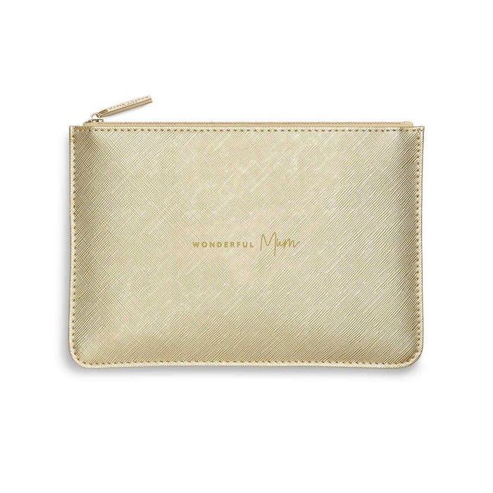 "Katie Loxton Perfect Pouch ""Wonderful Mum"" in Metallic Gold"