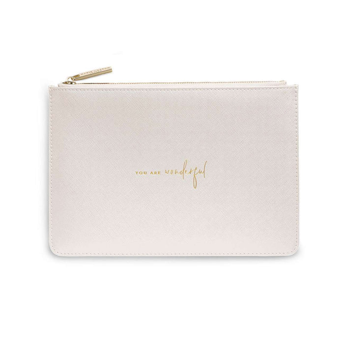 "Katie Loxton Perfect Pouch ""You are Wonderful"" in Metallic White"