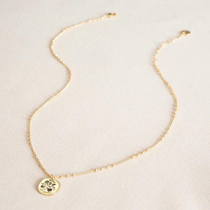 Gold lucky sixpence necklace with satellite chain.