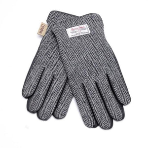 Mens Harris Tweed Gloves (Black & White Herringbone) Gloves Snowpaw Contempo