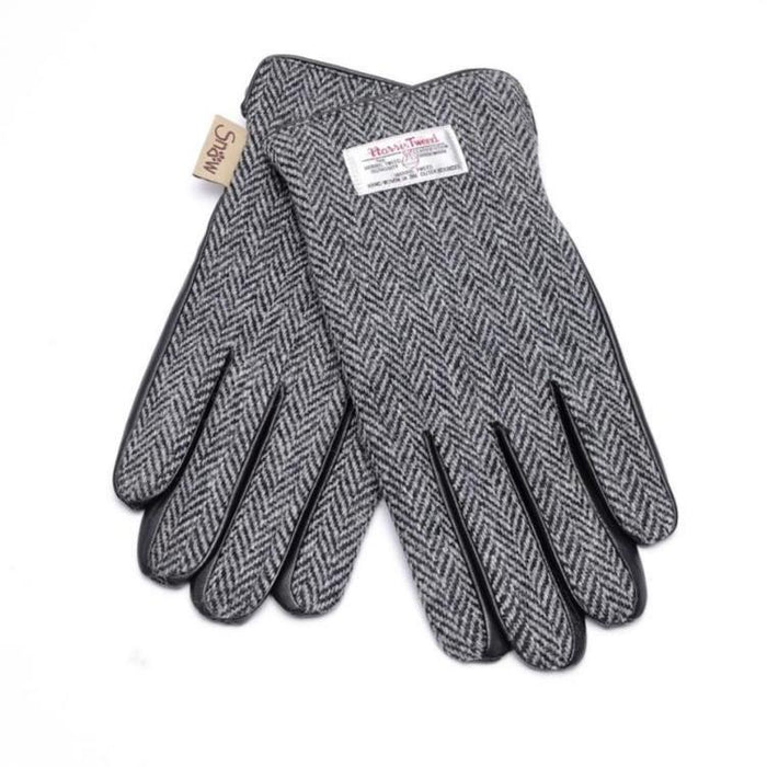 Mens Harris Tweed Gloves (Black & White Herringbone)