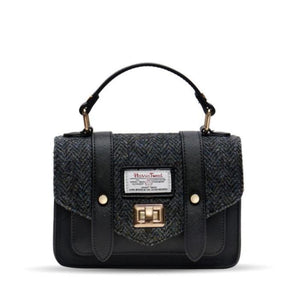 Mini Harris Tweed Satchel / Handbag (Black Herringbone) Bags Snowpaw Contempo