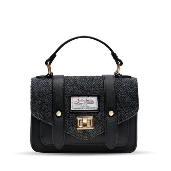 Harris Tweed Satchel / Handbag (Black Herringbone)