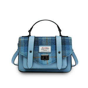 Mini Harris Tweed Satchel / Handbag (Blue Tartan) Bags Snowpaw Contempo