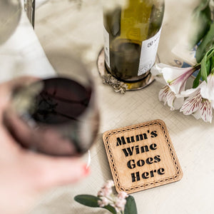 Mum's Wine Goes Here Wood & Tartan Coaster