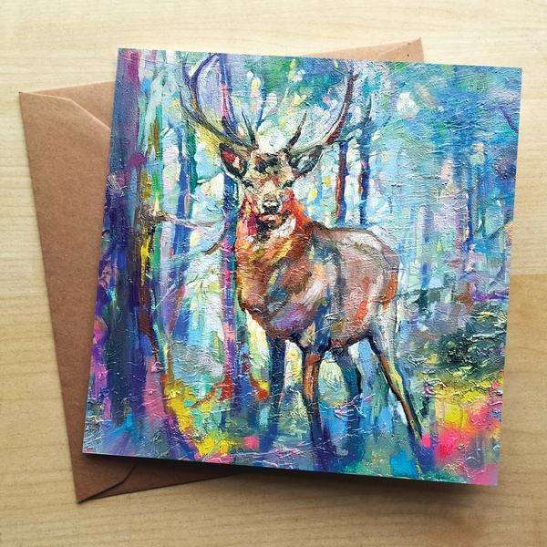 Mystic Stag Blank Greetings Card