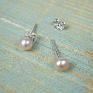 Pink Freshwater Pearl Silver Plated Stud Earrings Earrings Peace of Mind Contempo