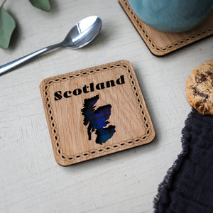 Scotland Map Wood & Tartan Coaster Coasters LT Creations Contempo