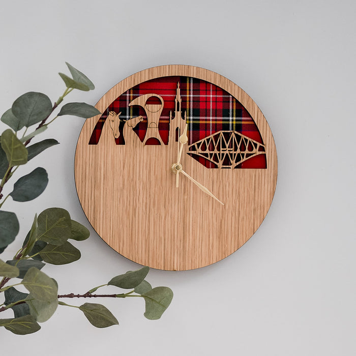 Scottish Skyline & Tartan Wooden Wall Clock