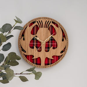 Scottish Thistle Clock & Tartan Wood Wall Clock Clocks LT Creations Contempo