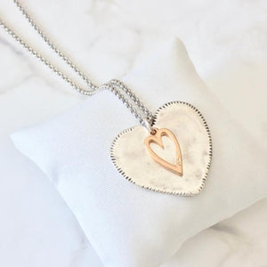 Silver Plated Hammered Heart & Rose Gold Heart Long Necklace Jewellery Orli Contempo