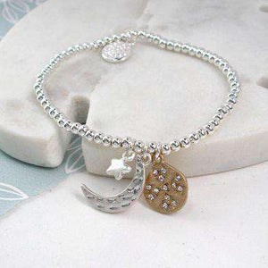 Silver Plated Moon, Star & Planet Bracelet Jewellery Peace of Mind Contempo