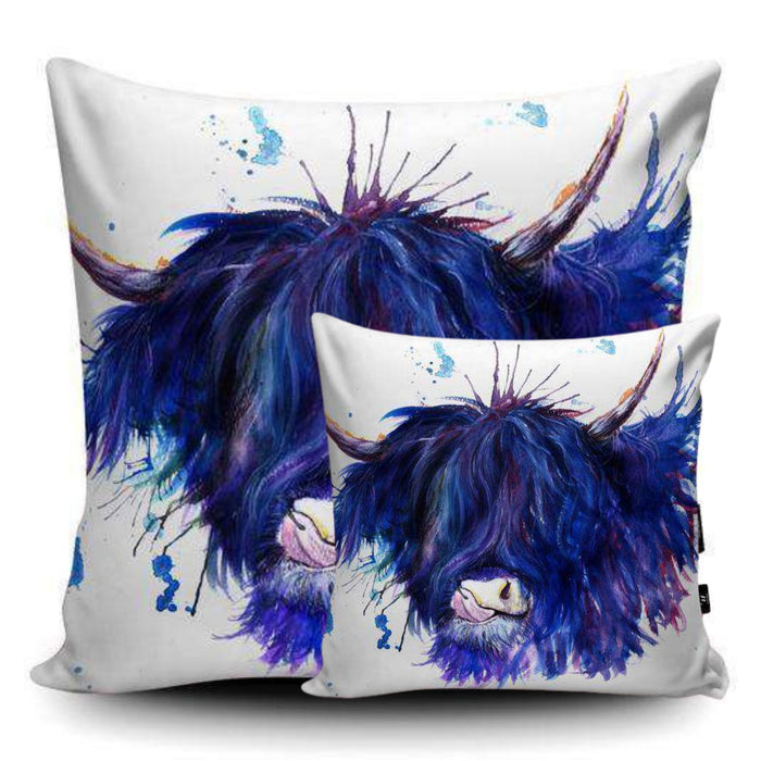 Splatter Highland Cow Vegan Suede Cushion