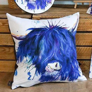 Splatter Highland Cow Vegan Suede Cushion Cushions Wraptious Contempo