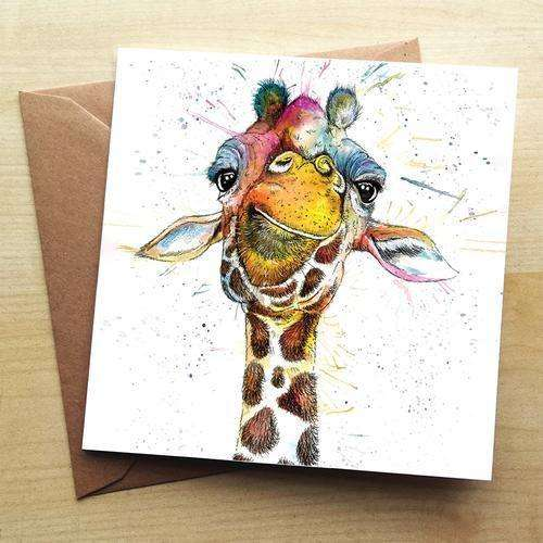 Splatter Rainbow Giraffe Blank Greetings Card