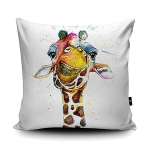 Splatter Rainbow Giraffe Vegan Suede Cushion Cushions Wraptious Contempo
