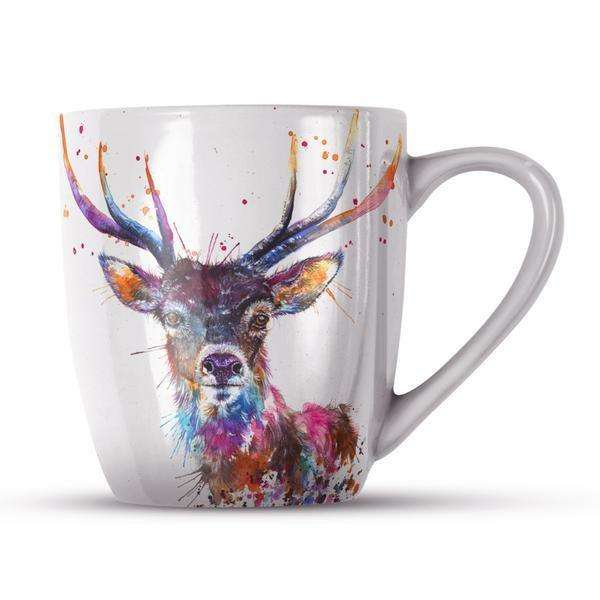 Splatter Rainbow Stag Bone China Mug