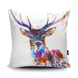Splatter Rainbow Stag Vegan Suede Cushion Cushions Wraptious Contempo